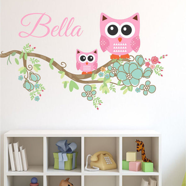 Mom and Baby Owl Branch Custom Name Printed Fabric Repositionable Wall Decal - Decor Designs Decals