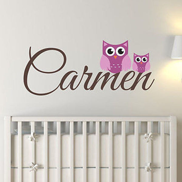 Mom and Baby Owl Custom Name Vinyl Wall Decal Sticker - Decor Designs Decals