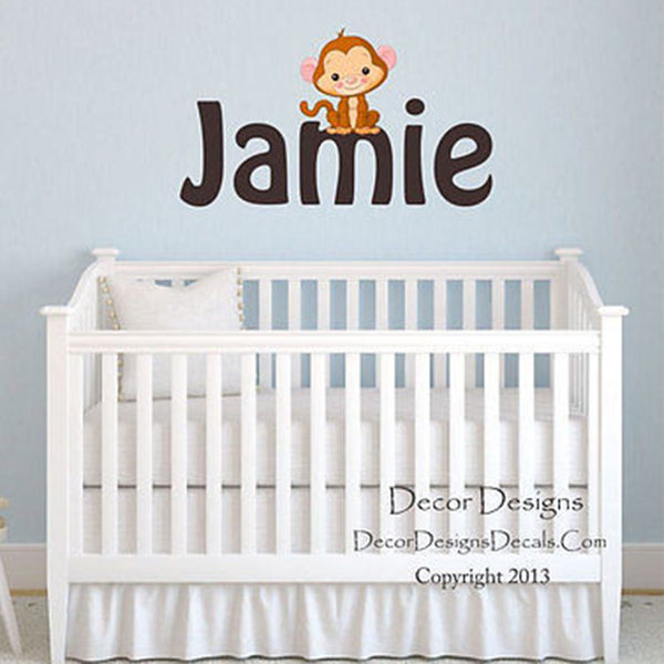 Monkey Custom Name Printed Fabric Repositionable Wall Decal - Decor Designs Decals