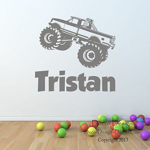 Monster Truck Custom Name Wall Decal - Decor Designs Decals