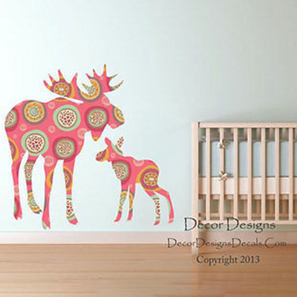 Moose and Baby Retro Pink Patterned Printed Fabric Repositionable Wall Decal - Decor Designs Decals