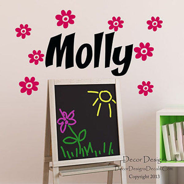 Multiple Flowers Custom Name Vinyl Wall Decal Stickers - Decor Designs Decals