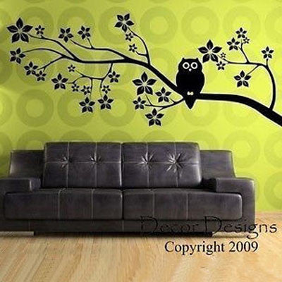 Owl On a Blossom Branch Vinyl Wall Decal Sticker - Decor Designs Decals