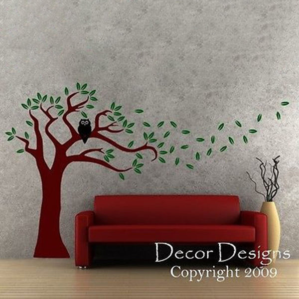 Owl Tree Blowing in the Wind Vinyl Wall Decal - Decor Designs Decals