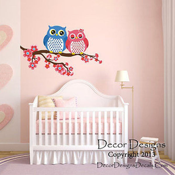 Owls in Love Printed Fabric Removable Vinyl Wall Decals Sticker - Decor Designs Decals