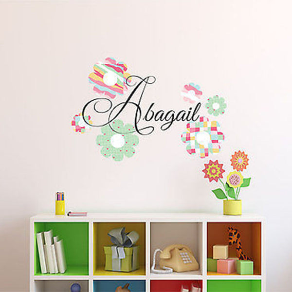 Patterned Flowers Custom Name Printed Fabric Removable Wall Decal Sticker - Decor Designs Decals