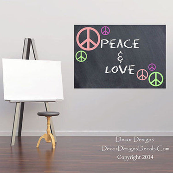 "Peace Signs 23"" High by 30"" Chalkboard Vinyl Wall Decal - Decor Designs Decals"