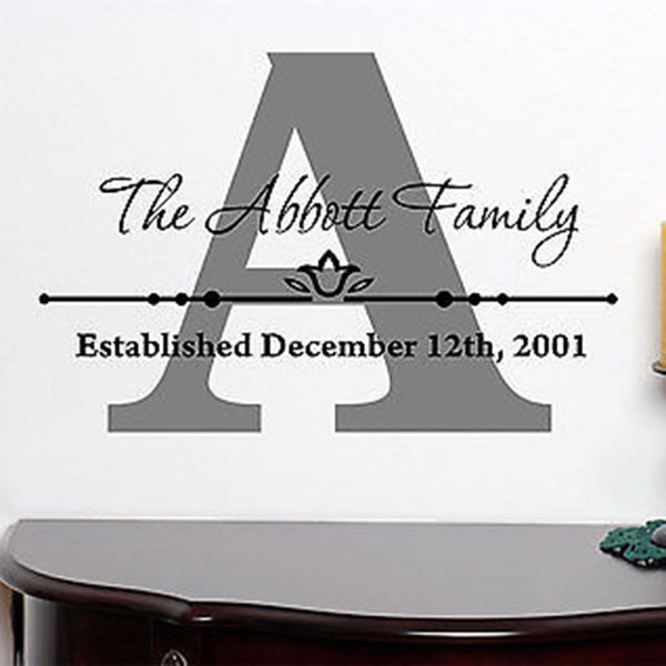 Personalized Custom Family Name Vinyl Wall Decal Sticker - Decor Designs Decals
