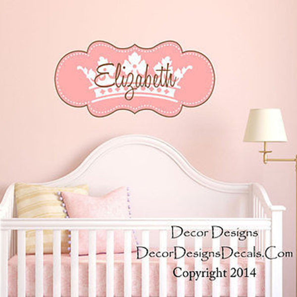 Pink Crown Custom Name Printed Fabric Repositionable Wall Decal Sticker - Decor Designs Decals