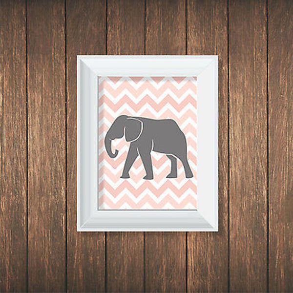 Pink Elephant Personalized Print - Decor Designs Decals