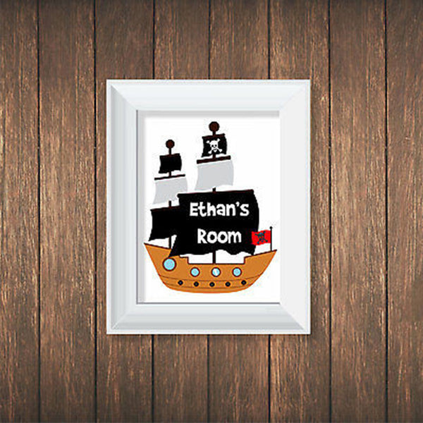 Pirate Ship Personalized Print - Decor Designs Decals