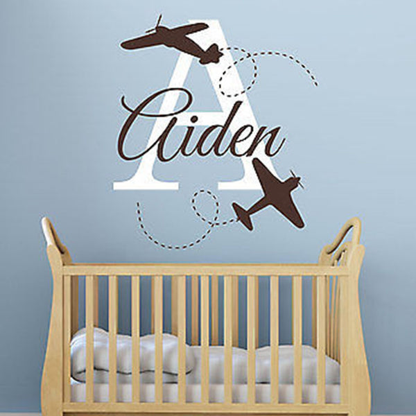 Planes Initial and Name Personalized Vinyl Wall Decal Sticker - Decor Designs Decals