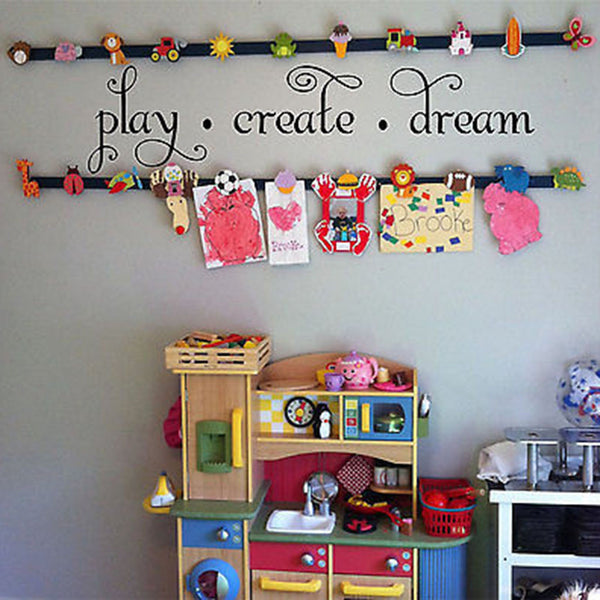 Play Create Dream Quote Vinyl Wall Decal Sticker - Decor Designs Decals