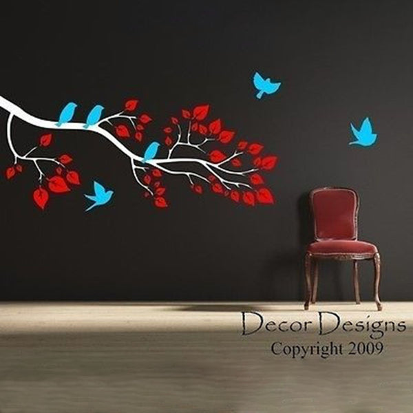 Playful Birds Around The Branch Vinyl Wall Art Decal Sticker - Decor Designs Decals
