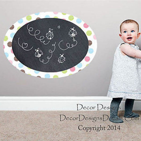 Polka Dot Border Chalkboard Vinyl Wall Decal Sticker - Decor Designs Decals