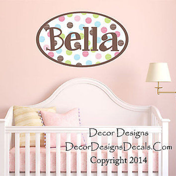 Polka Dot Custom Name Printed Fabric Removable Vinyl Wall Art Decal Sticker - Decor Designs Decals