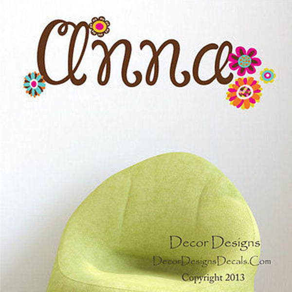 Rainbow Flowers Custom Name Printed Fabric Repositionable Wall Decal Sticker - Decor Designs Decals
