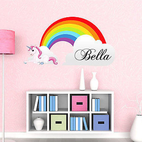 Rainbow and Unicorn Personalized Custom Printed Fabric Wall Decal Sticker - Decor Designs Decals