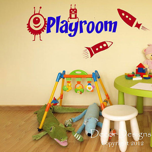 Rockets and Aliens Playroom Vinyl Wall Art Decal Sticker - Decor Designs Decals