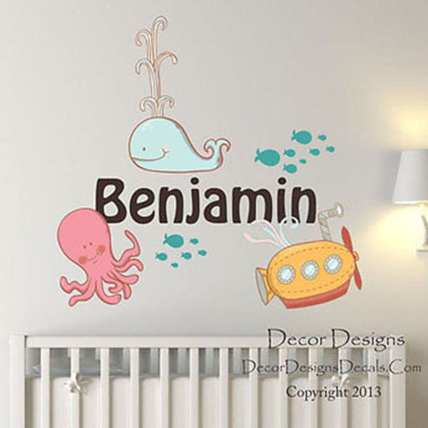 Sea Life Custom Name Printed Fabric Repositionable Wall Decal - Decor Designs Decals