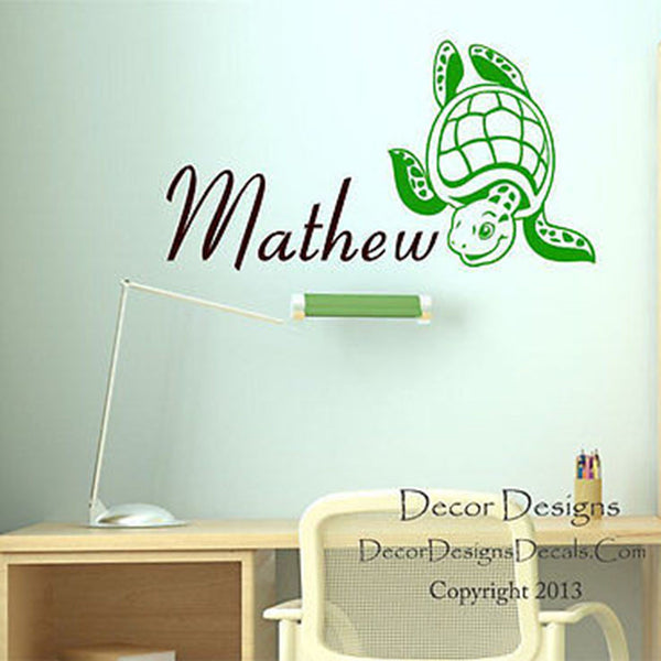 Sea Turtle Custom Name Wall Decal - Decor Designs Decals