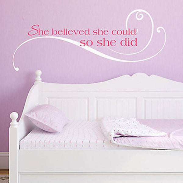 She Believed She Could So She Did Quote Vinyl Wall Decal Sticker - Decor Designs Decals