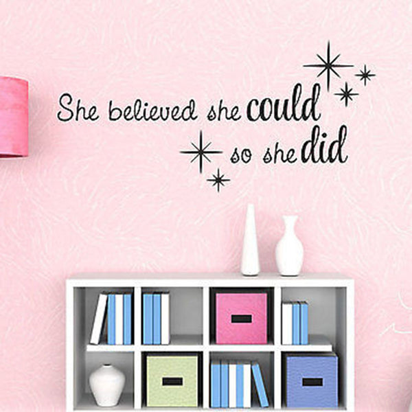 She Believed She Could, So She Did Wall Decal Quote Vinyl Wall Decal Sticker - Decor Designs Decals