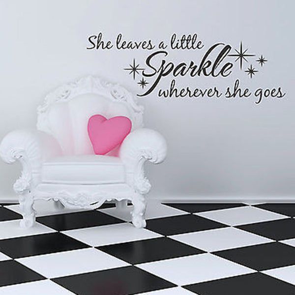She Leaves A Little Sparkle Quote Vinyl Wall Decal   Decor Designs Decals