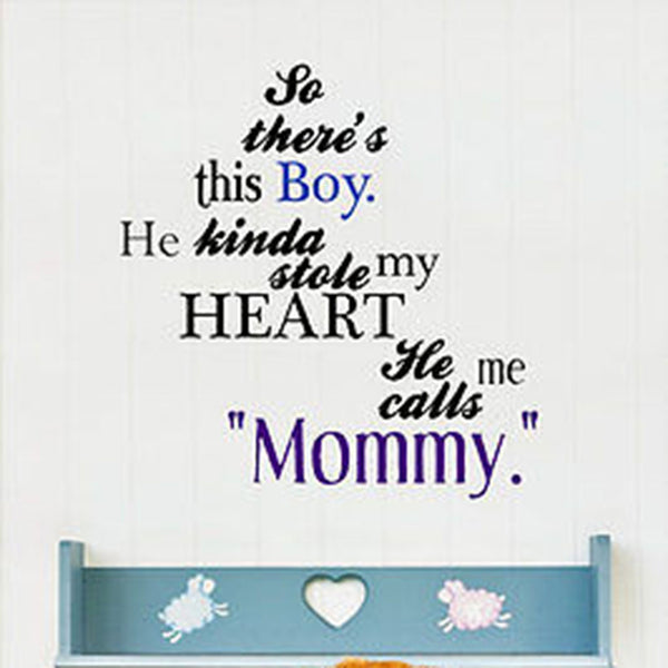 So There's This Boy Mother and Son Quote Vinyl Wall Decal Sticker - Decor Designs Decals