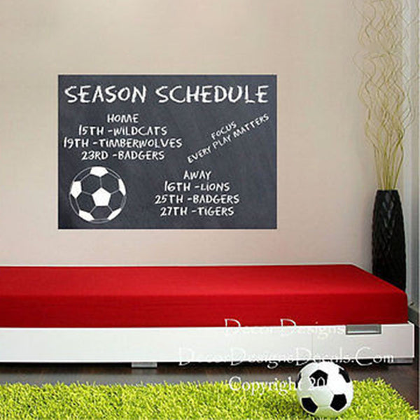 Soccer Chalkboard Vinyl Wall Decal Sticker - Decor Designs Decals