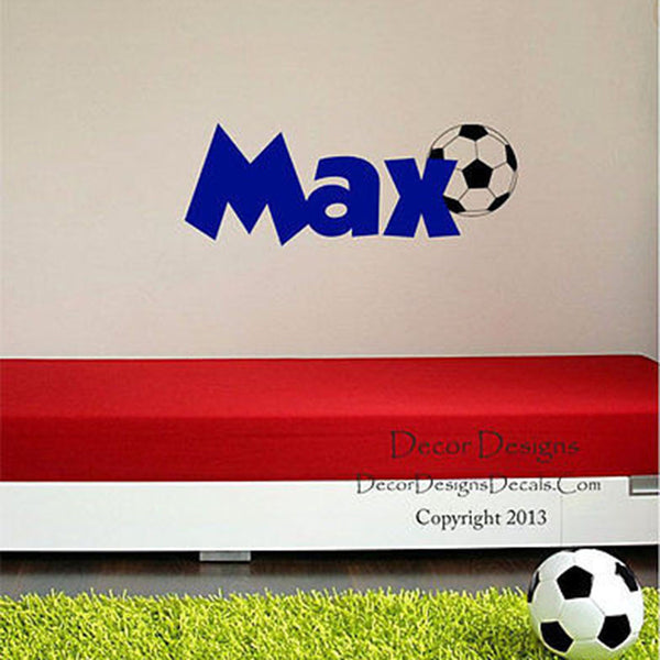 Soccer Custom Name Vinyl Wall Decal Stickers - Decor Designs Decals