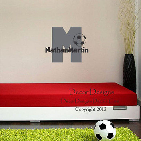 Soccer Initial Custom Personalized Name Vinyl Wall Decal Stickers - Decor Designs Decals