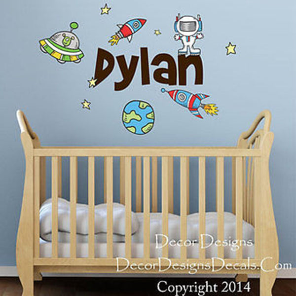 Spaceships and Planets Custom Name Printed Fabric Repositionable Wall Decal - Decor Designs Decals