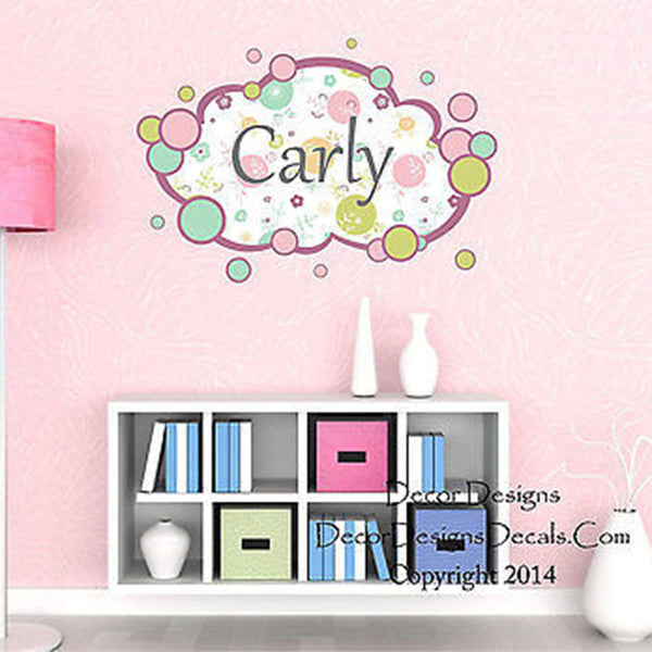 Spring Bubbles Custom Name Printed Fabric Repositionable Wall Decal Sticker - Decor Designs Decals