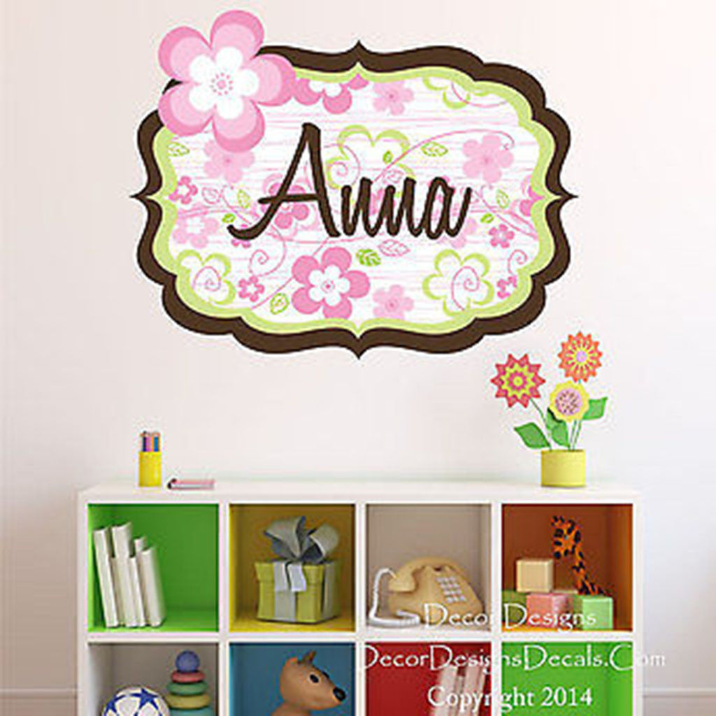Spring Flowers Custom Name Printed Fabric Repositionable Wall Decal St