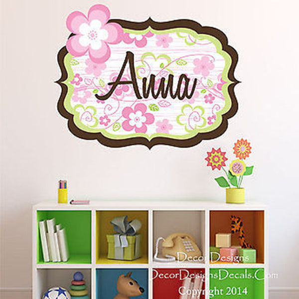 Spring Flowers Custom Name Printed Fabric Repositionable Wall Decal Sticker - Decor Designs Decals