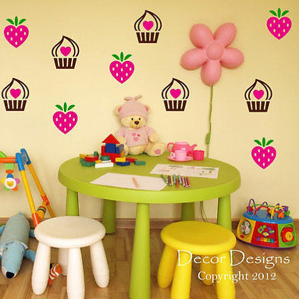 Strawberries and Cupcakes Vinyl Wall Decal Sticker - Decor Designs Decals