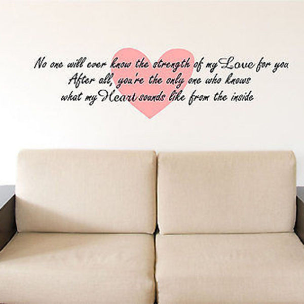 Strength of My Love Quote Vinyl Wall Decal Sticker - Decor Designs Decals