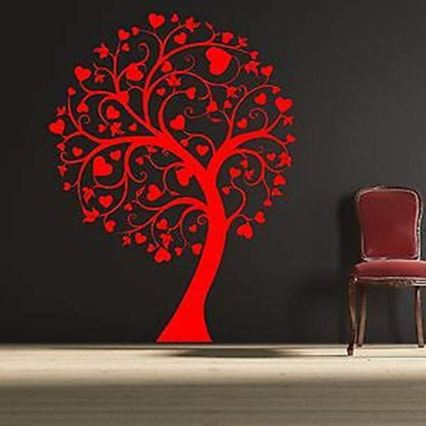 Swirly Heart Tree Vinyl Wall Decal Sticker - Decor Designs Decals