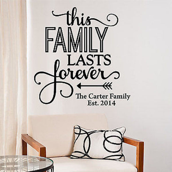 This Family Lasts Forever...Custom Family Name Date Quote Vinyl Wall Decal - Decor Designs Decals