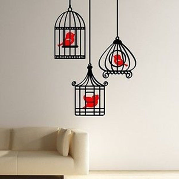 Three Birds in Bird Cages Wall Vinyl Decal Sticker - Decor Designs Decals