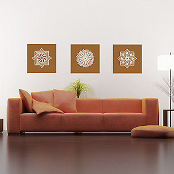 Three Mandala Flowers Vinyl Wall Decal - Decor Designs Decals