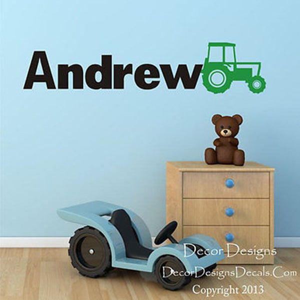 Tractor Custom Name Wall Decal - Decor Designs Decals