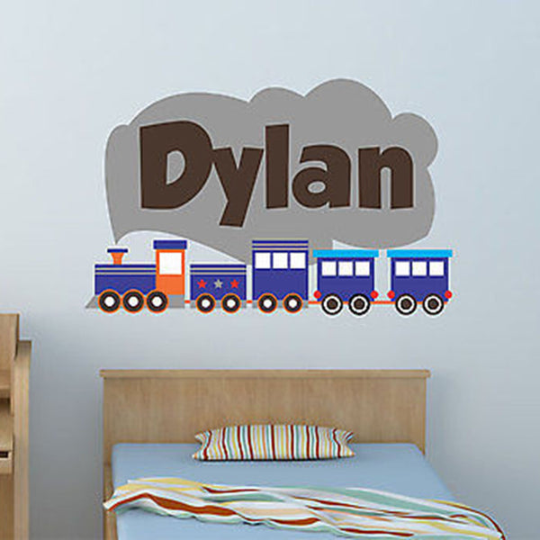 Train Custom Personalized Name Fabric Repositionable Wall Decal Sticker - Decor Designs Decals