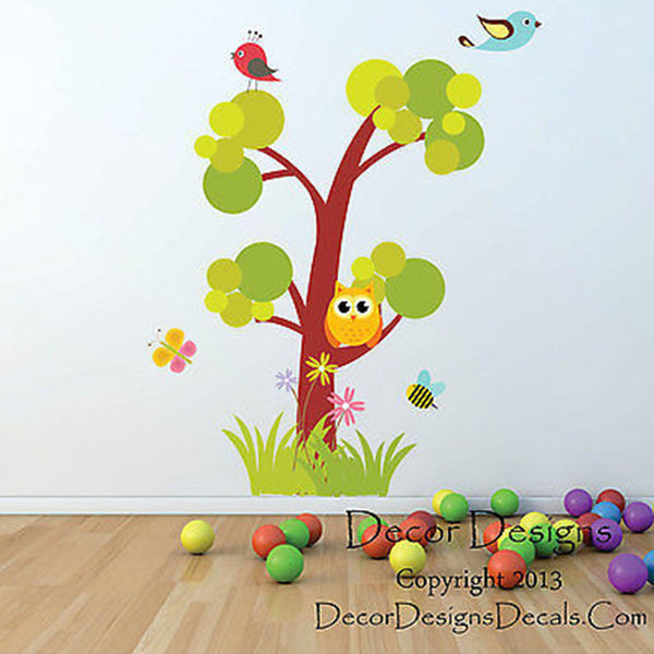 Wilderness Owl Tree Printed Fabric Repositionable Wall Decal Sticker - Decor Designs Decals