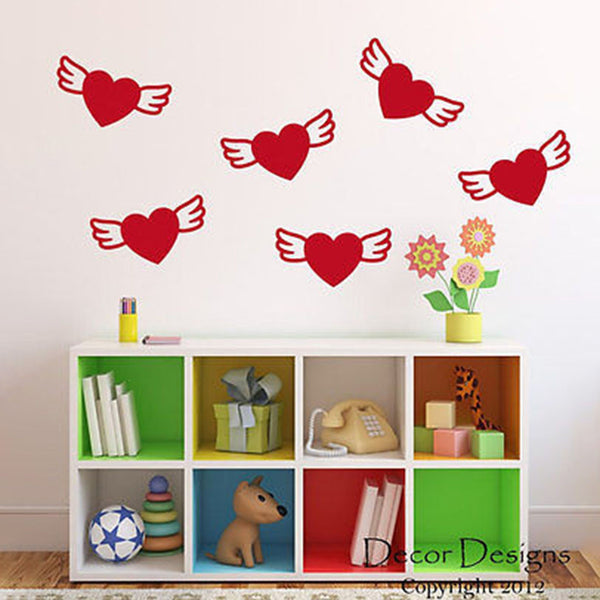 Winged Hearts Vinyl Wall Decal Sticker - Decor Designs Decals