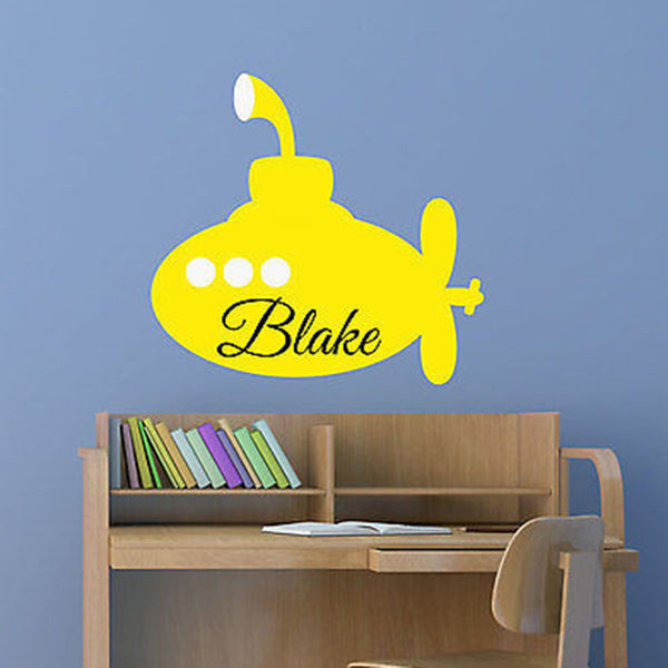 Yellow Submarine Custom Name Personalized Vinyl Wall Decal Sticker - Decor Designs Decals