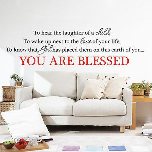 You Are Blessed Quote Vinyl Wall Decal Sticker Home and Love Quote - Decor Designs Decals