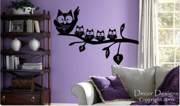 Mom With Baby Owls Vinyl Wall Decal Sticker - Decor Designs Decals - 1