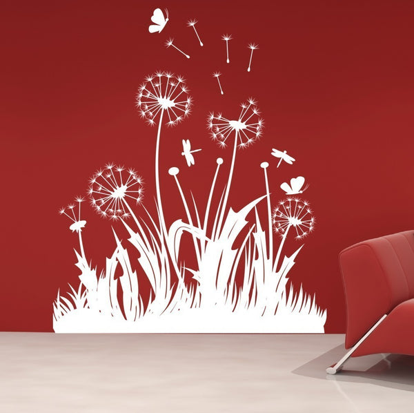 Dandelions Dragonflies And Butterflies Vinyl Wall Decal Sticker - Decor Designs Decals - 1